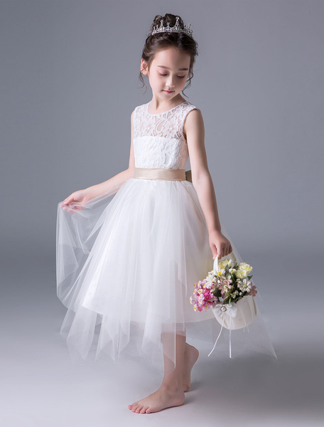 Milanoo Flower Girl Dresses Lace Tulle Open Back Sash Sleeveless Princess Dress Tea Length Kids Party Dresses