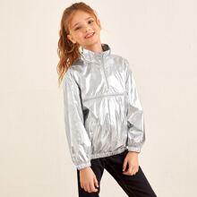 Metallische Anorak Jacke mit Reissverschluss vorn und Raglan Ärmeln
