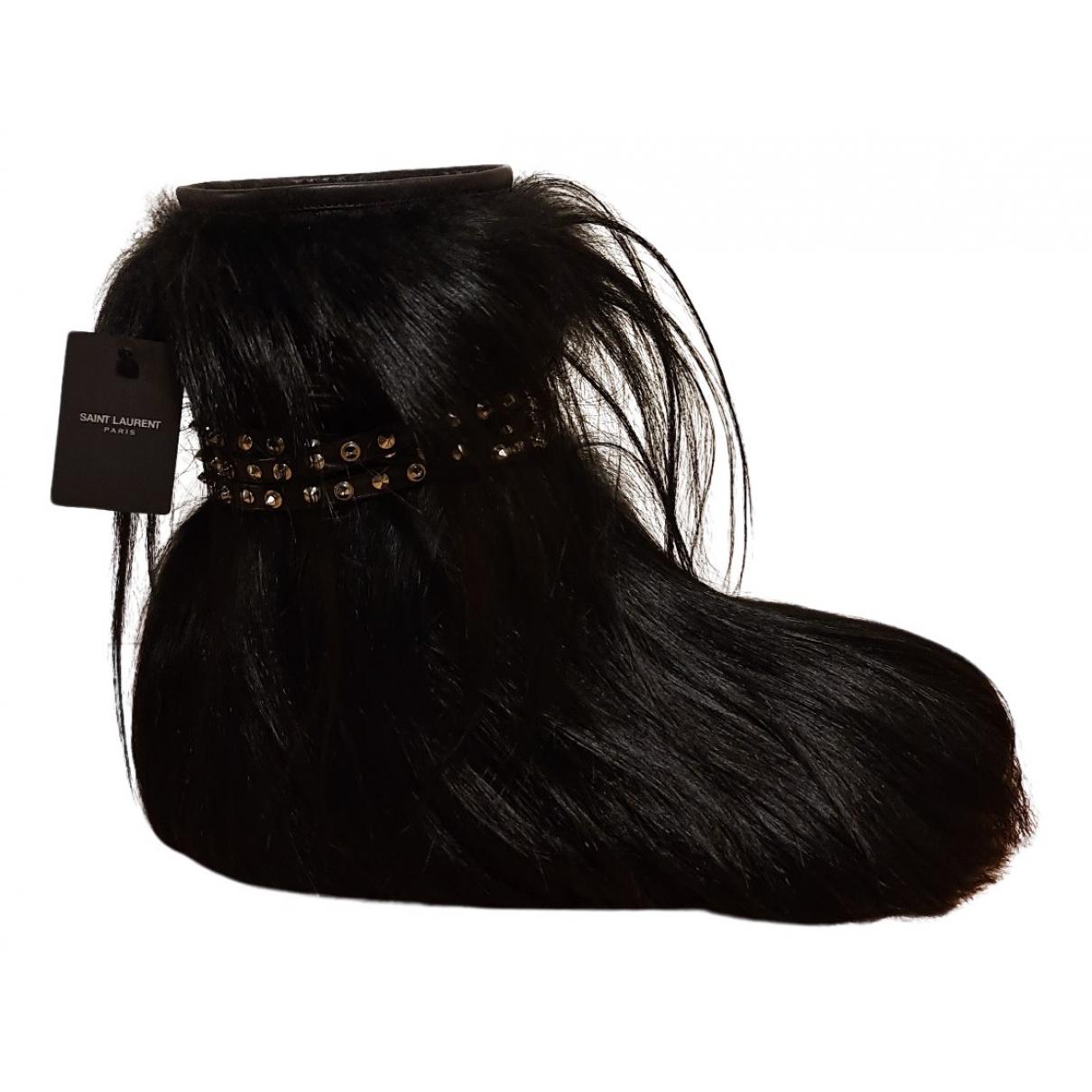 Saint Laurent - Boots   pour femme en veau facon poulain - noir