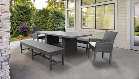 Belle Collection BELLE-DTREC-KIT-2DC2DB-C-WHITE Patio Dining Set With 1 Table  2 Arm Chairs  2 Benches - Wheat and Sail White