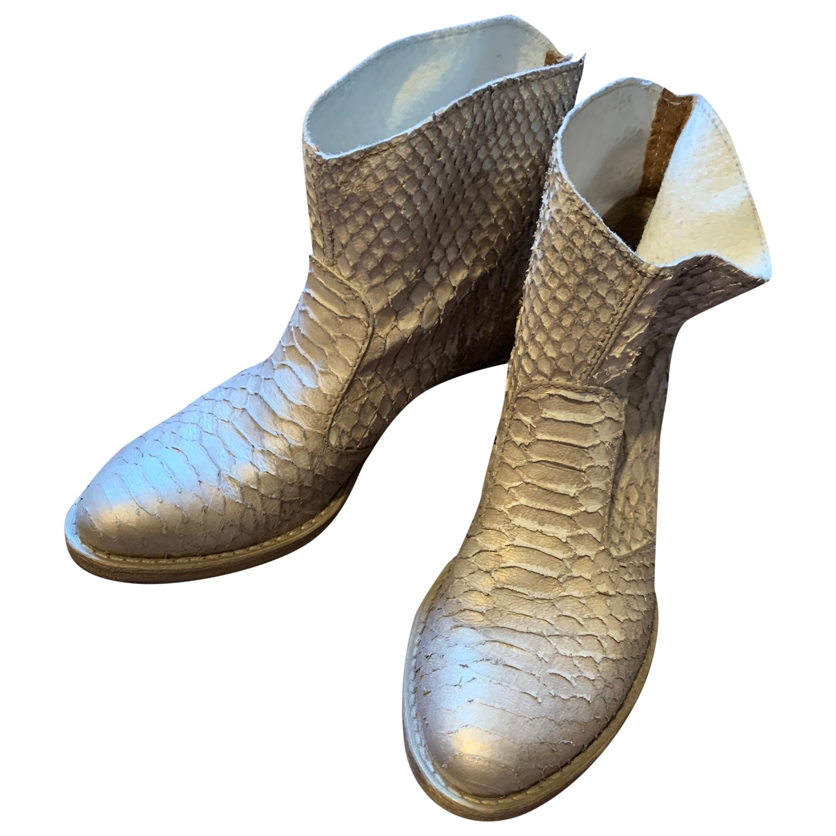 Non Signé / Unsigned N Beige Leather Ankle boots for Women 38 EU