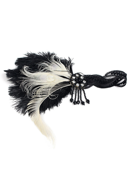 Milanoo Black Flapper Headband The Great Gatsby 1920s Fashion Costume Feather Headpieces Women's Vintage Accessories Halloween