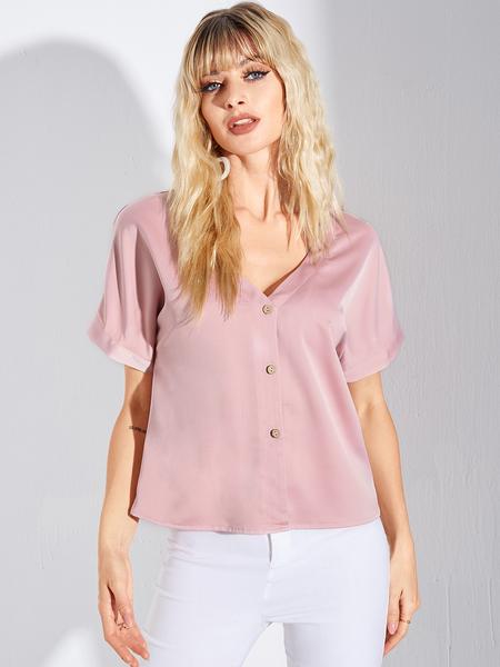 YOINS Pink Button Front Design V-neck Short Sleeves Tee