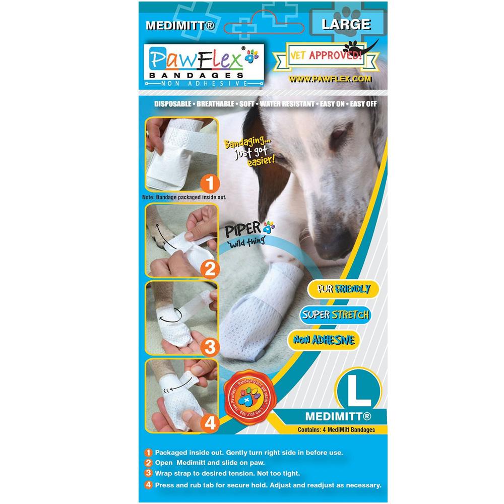 PawFlex Medimitt Bandages for Pets - Large (4 Pack)