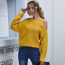 Cold Shoulder Solid Sweater