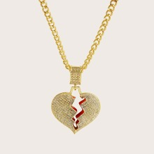 1pc Hollow Out Rhinestone Decor Heart Charm Necklace