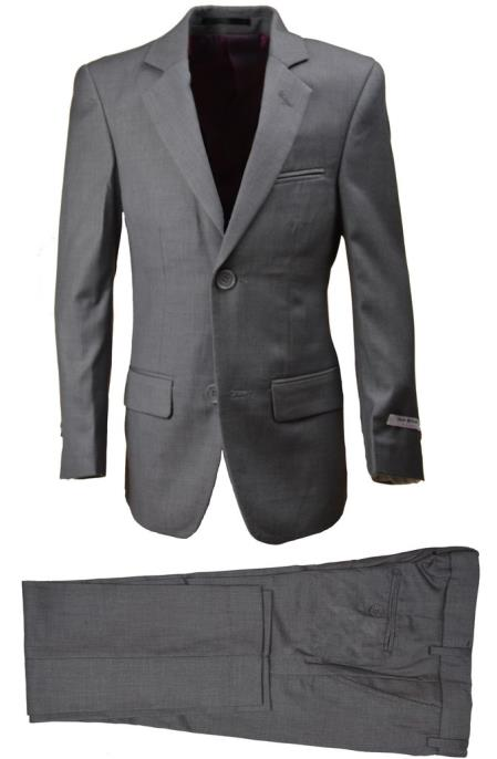 Husky Light Gray Boys Wool Blend Suit