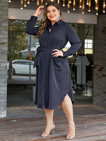 YOINS Plus Size Navy Classic Collar Long Sleeves Dress