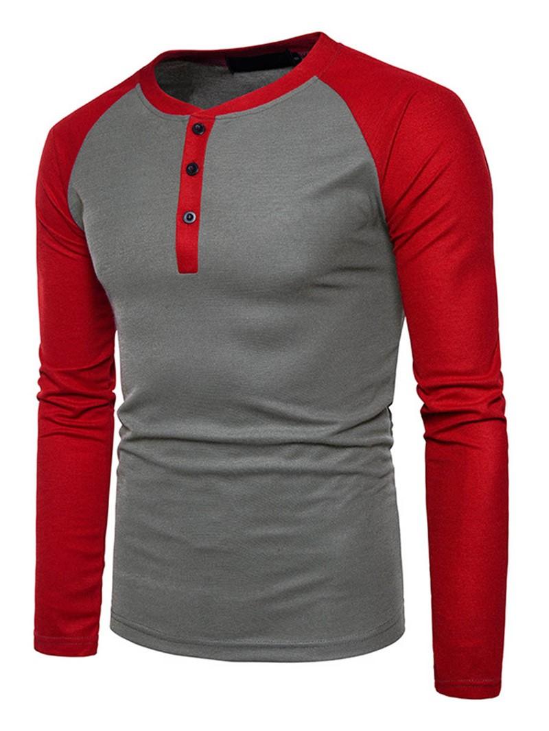 Ericdress Colr Block Slim Mens T-Shirt