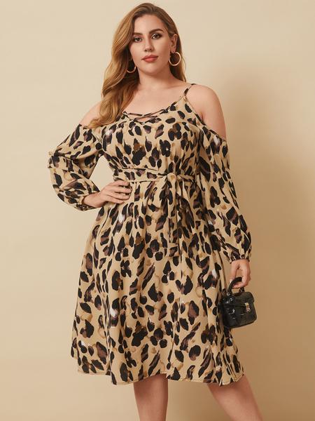 YOINS Plus Size Cold Shoulder Leopard Criss-cross Long Sleeves Midi Dress