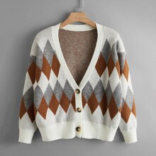 Plus Argyle Pattern Button Front Cardigan