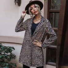 Single Breasted Leopard Print Coat