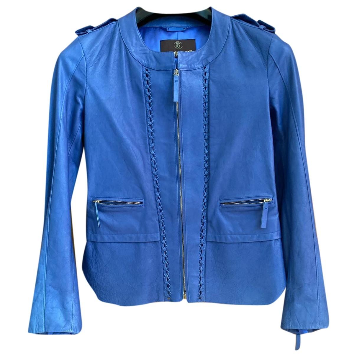Roberto Cavalli \N Jacke in  Blau Leder