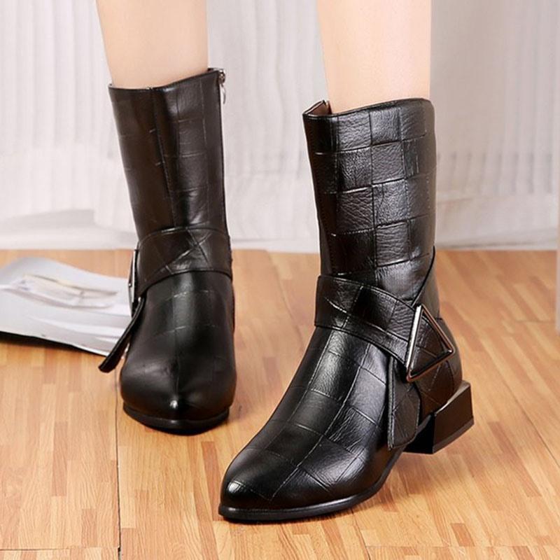 Ericdress Block Heel Side Zipper Round Toe PU Boots