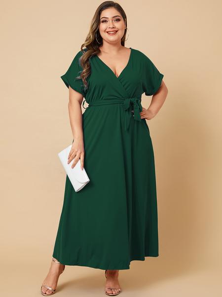 Yoins Plus Size Belt Design V-neck Short Sleeves Dress
