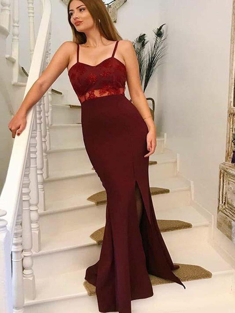 Ericdress Spaghetti Straps Mermaid Evening Dress With Side Split