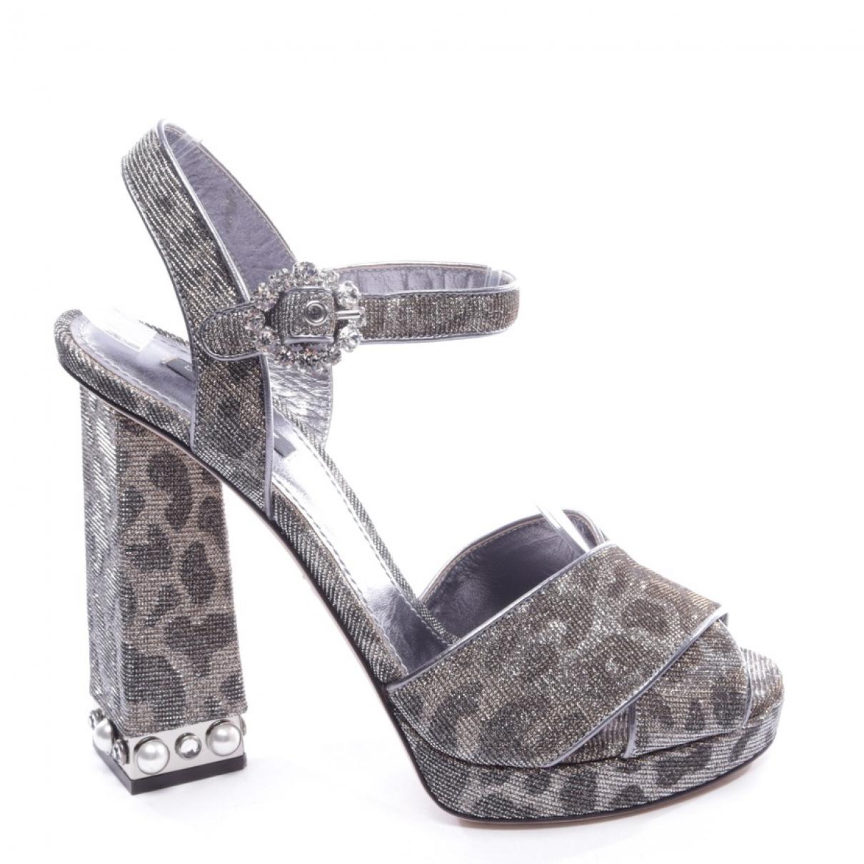 Dolce & Gabbana \N Sandalen in  Metallic Leinen