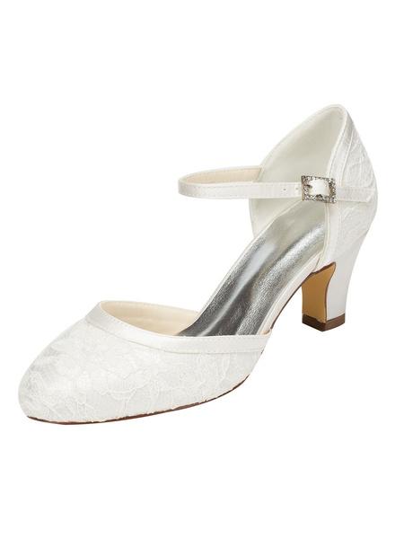 Milanoo Zapatos de novia de encaje Zapatos de Fiesta de tacon gordo Zapatos marfil  Zapatos de boda de puntera redonda 6.5cm