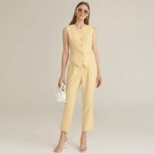 Button Front Top & Slant Pocket Pants Set