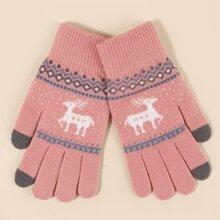 Handschuhe mit Weihnachten Hirsch Muster