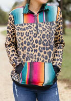 Leopard Serape Striped Kangaroo Pocket Zipper Collar Sweatshirt