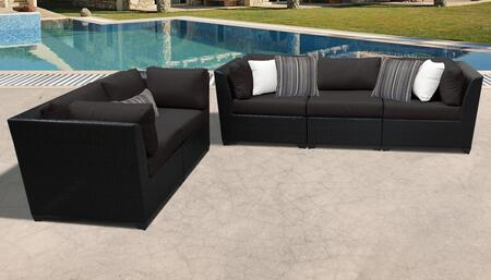 Barbados Collection BARBADOS-05a-BLACK 5-Piece Patio Set with 4 Corner Chairs and 1 Armless Chair - Wheat and Black