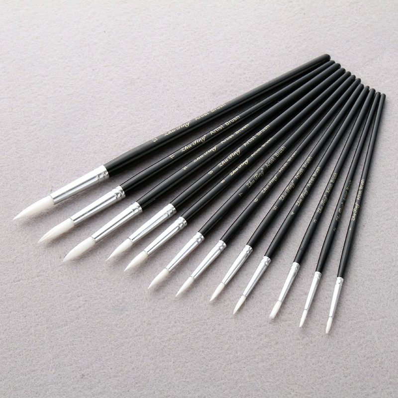 12 Pcs/Lot Paint Brush Different Size Black Short Rod White Nylon Hair Oil Painting Brushes Watercolor Acrylic Art Drawi