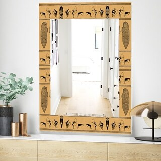 Designart 'African Decorative Pattern' Bohemian and Eclectic Mirror - Wall Mirror (23.7 in. wide x 31.5 in. high)