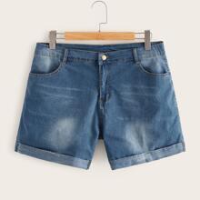 Shorts denim bajo de doblez con lavado - grande