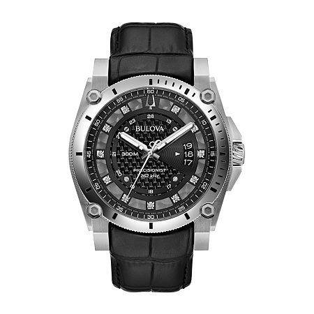 Bulova Precisionist Mens Black Stainless Steel Bracelet Watch-96d147, One Size , No Color Family