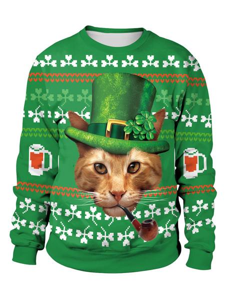 Milanoo St Patricks Day Green Sweatshirt 3D Printed Cat Clover Pullover Unisex Irish Long Sleeve Top Halloween