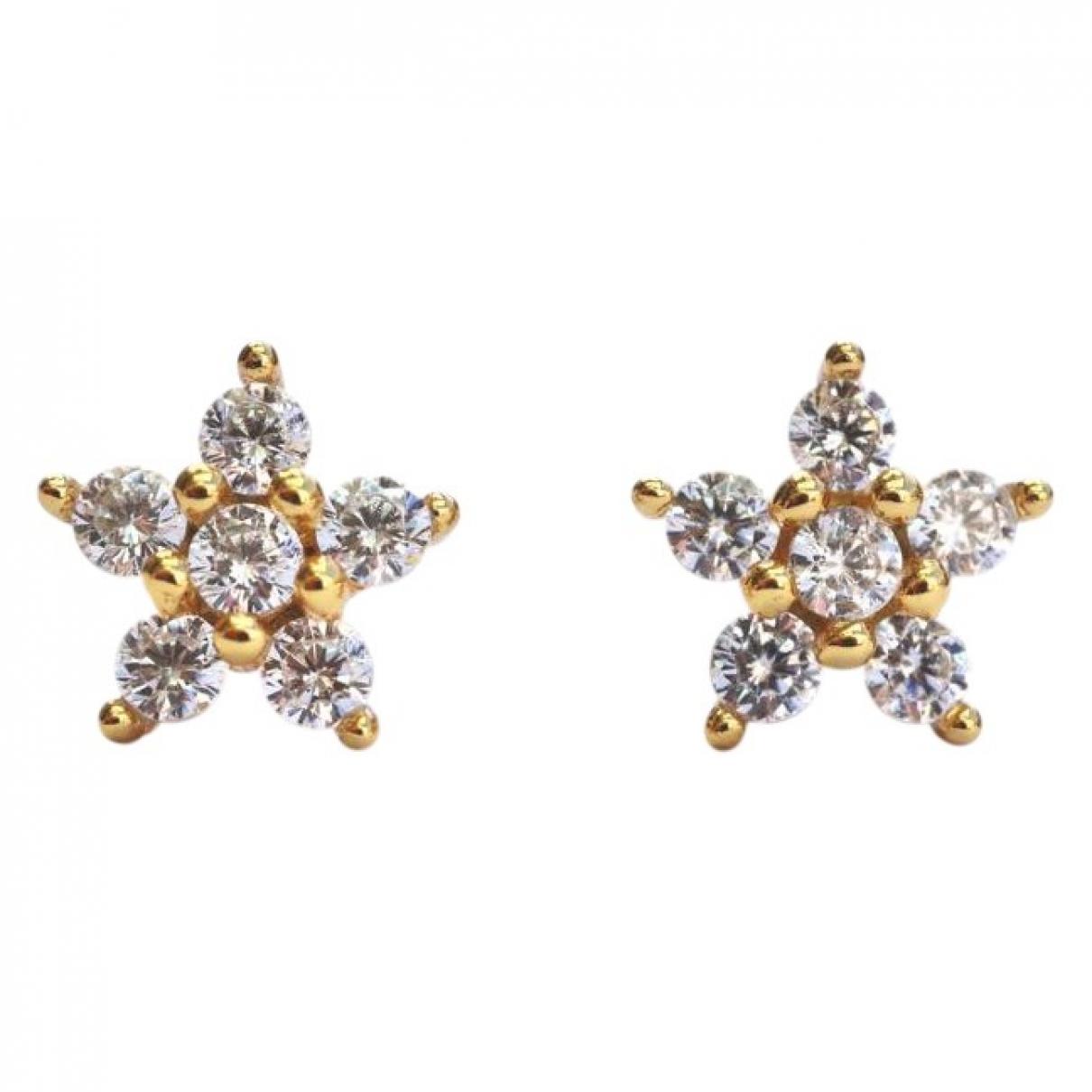 - Boucles d'oreilles Motifs Etoiles pour femme en argent - jaune