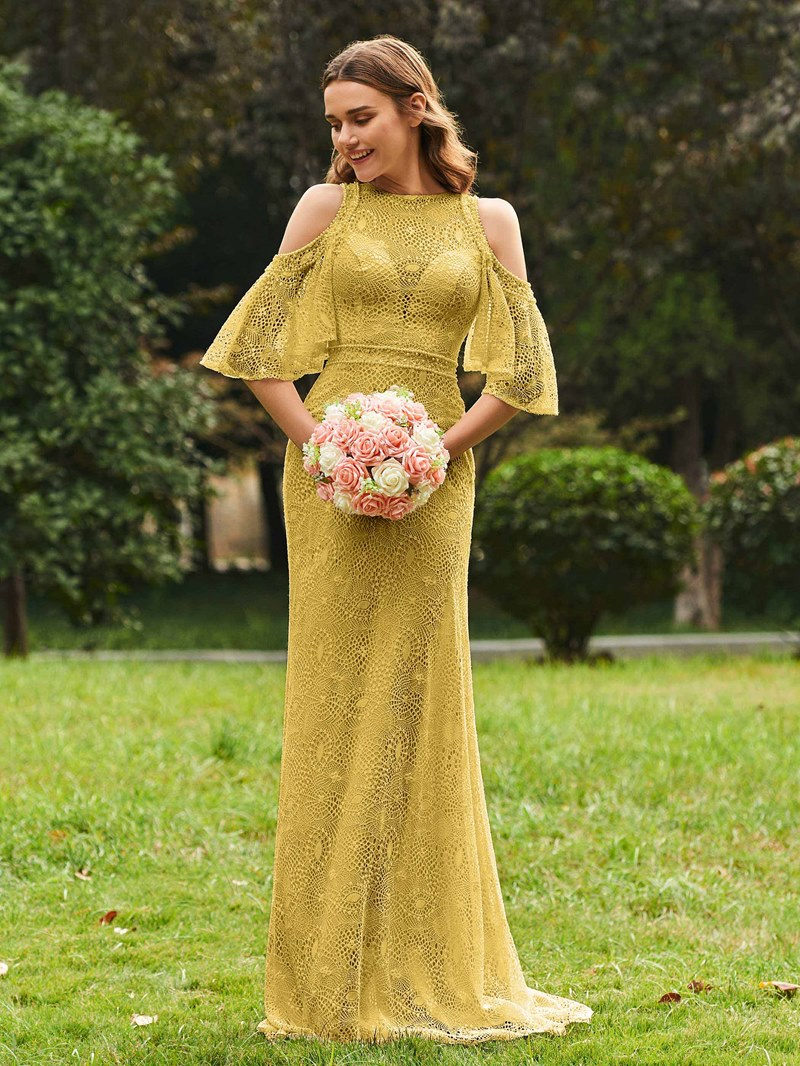 Ericdress Sheath Lace Cold Shoulder Bridesmaid Dress