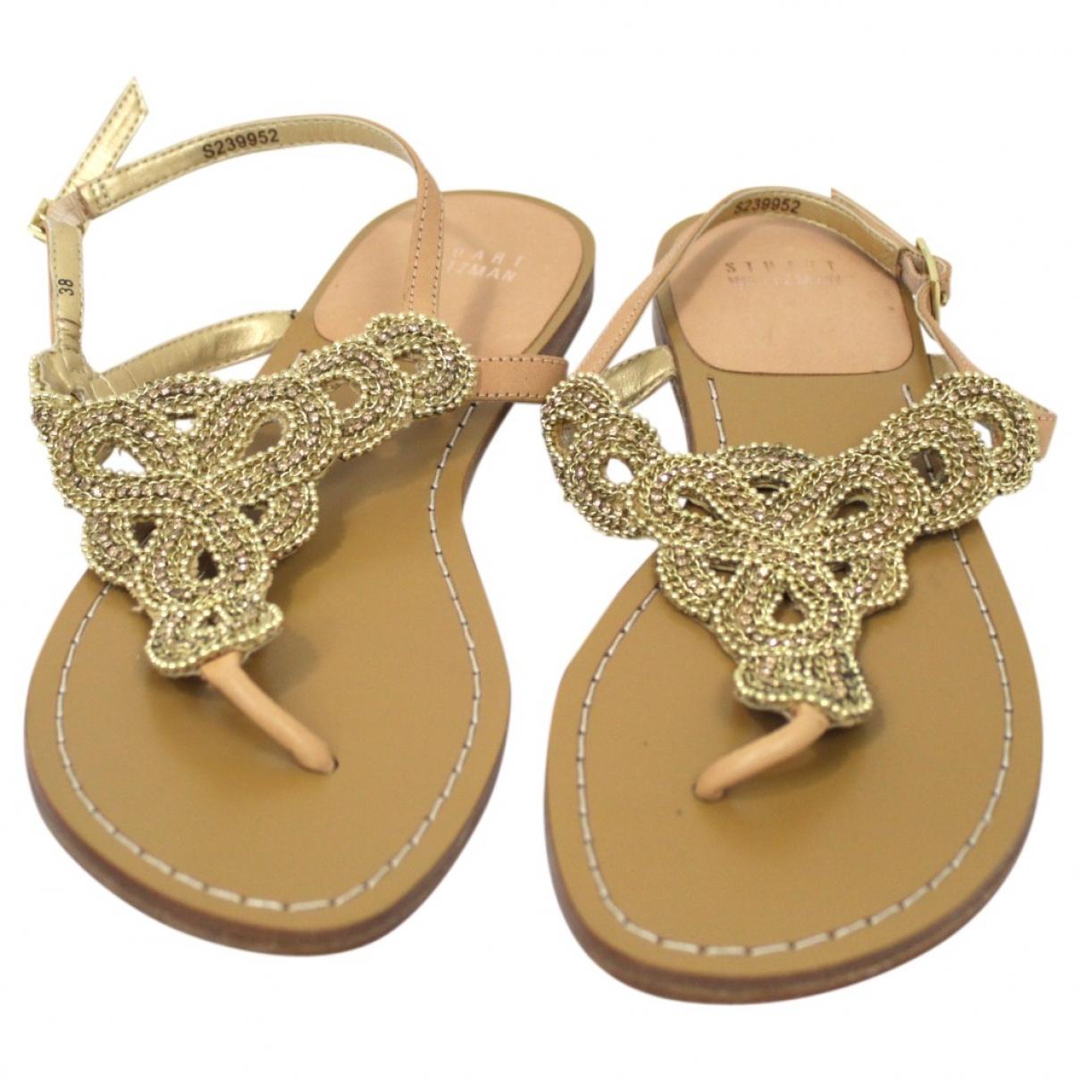 Stuart Weitzman \N Gold Leather Sandals for Women 38 EU