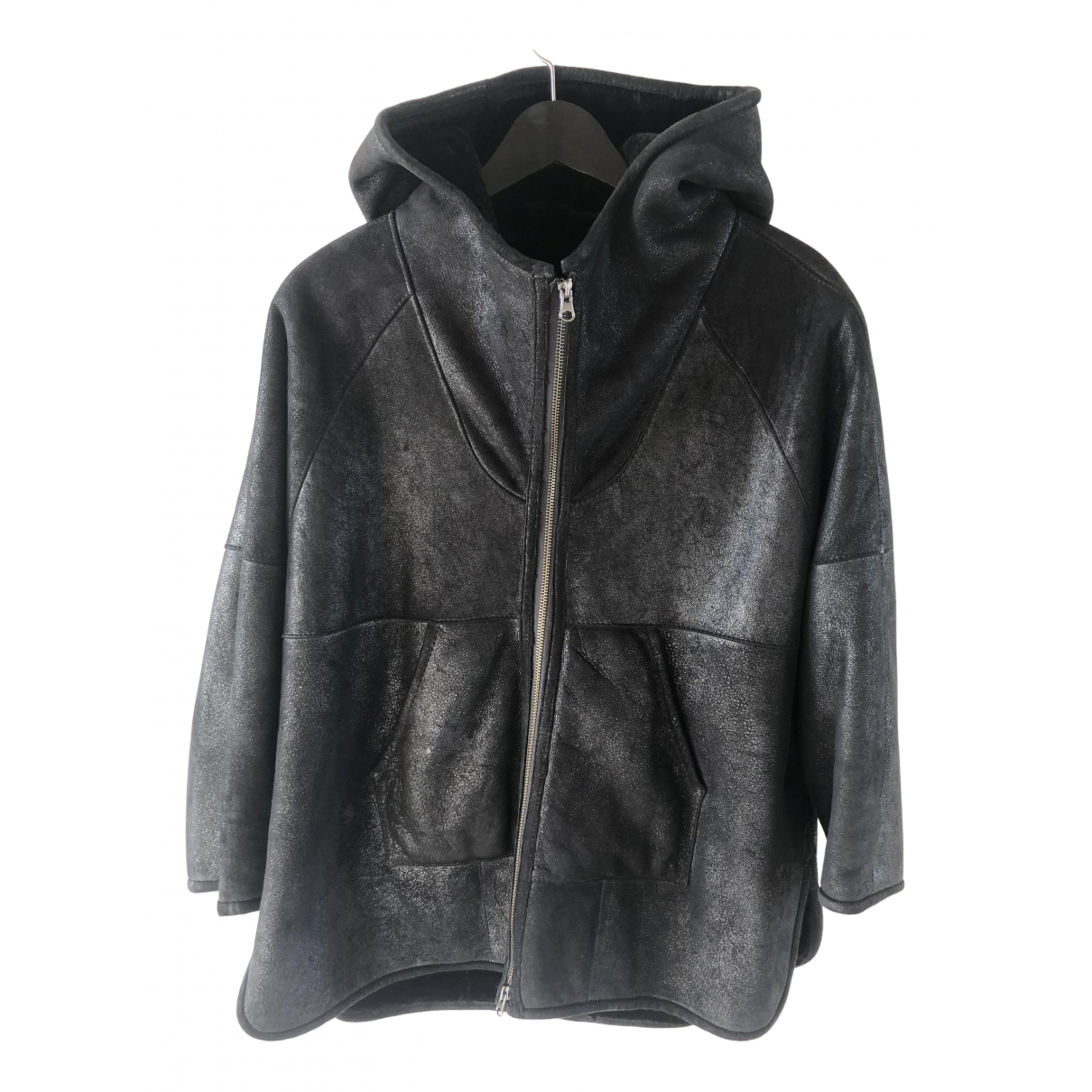 Non Signé / Unsigned Oversize Black Leather Leather jacket for Women S International