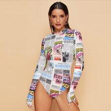 Mock-Neck Newspaper Print Bodysuit