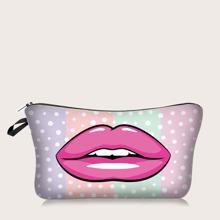 1 pieza bolsa de maquillaje con estampado