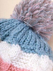 1pc Kids Cable Knit Beanie & 1pc Infinity Scarf
