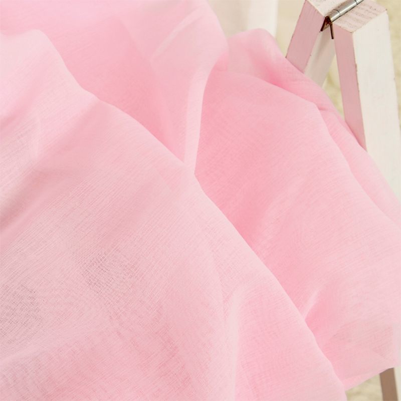 Decoration Polyester Cotton Concise Solid Color Fresh Style 2 Panels Sheer Curtain