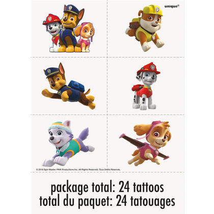 Paw Patrol 4 Tattoo Sheets/Favors For Birthday Party