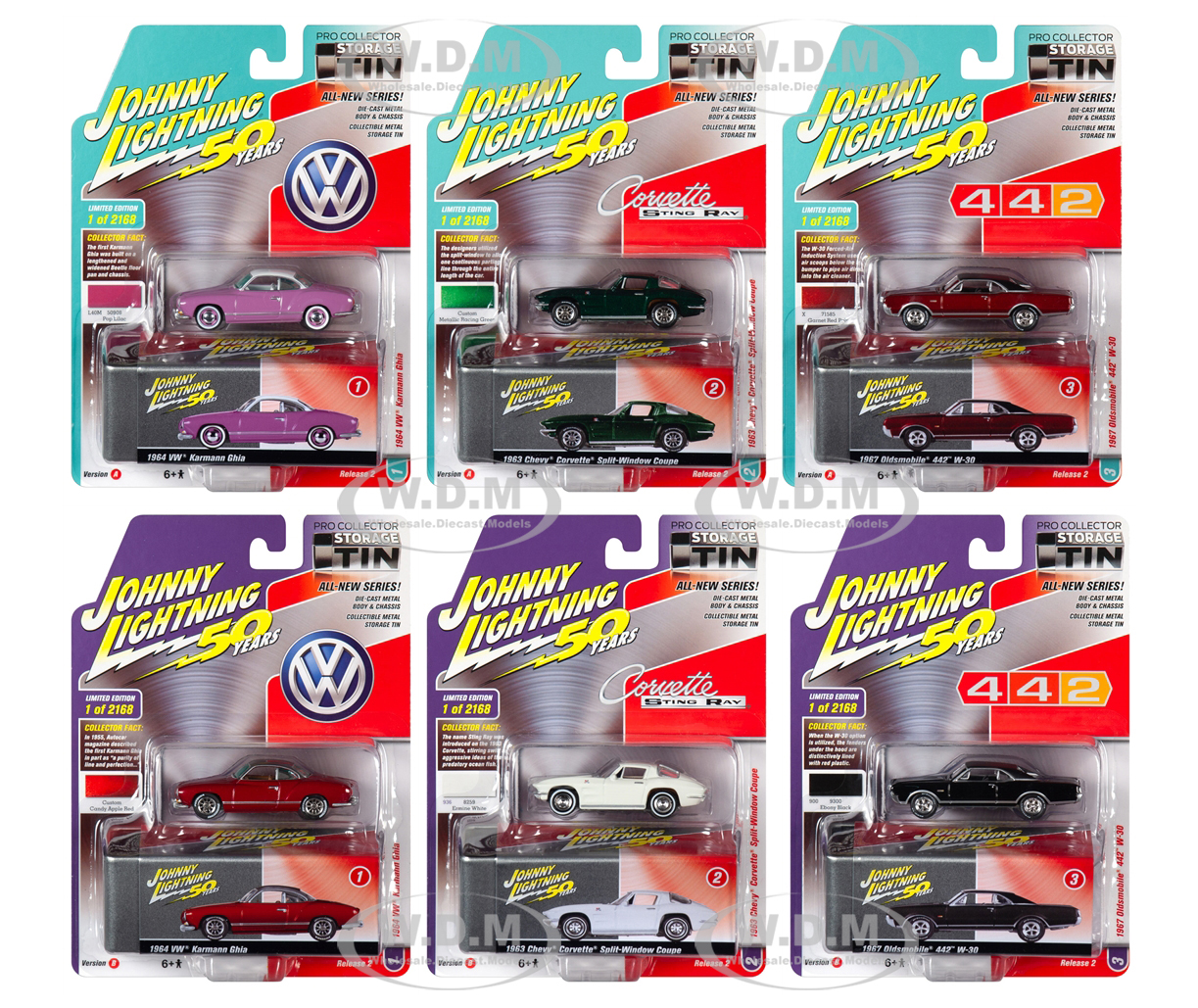 Johnny Lightning Collectors Tin 2019 Release 2 Set of 6 Cars