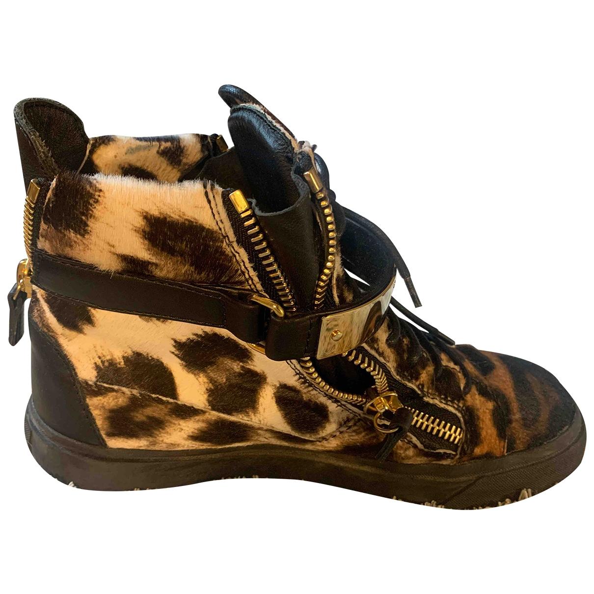 Giuseppe Zanotti Donna Sneakers in  Beige Veloursleder