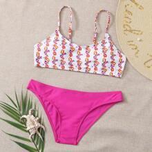 Cami Bikini Badeanzug mit Blumen Muster