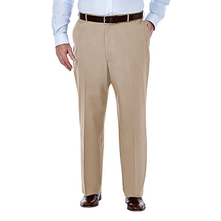 Haggar Premium No Iron Classic-Fit Flat-Front Khakis - Big & Tall, 54 34, White