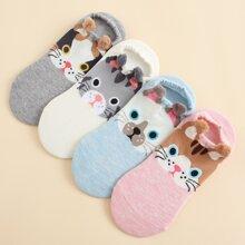 4 pares calcetines con dibujos animados