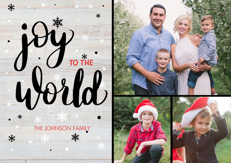 Christmas Photo Cards Set of 20, Premium 5x7 Foil Card, Card & Stationery -Joy to the World Script