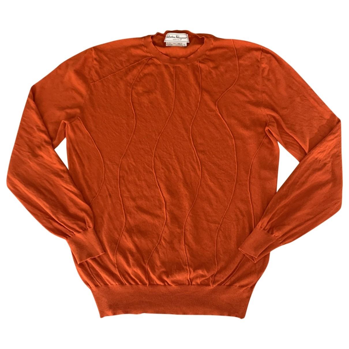 Salvatore Ferragamo \N Pullover.Westen.Sweatshirts  in  Orange Baumwolle
