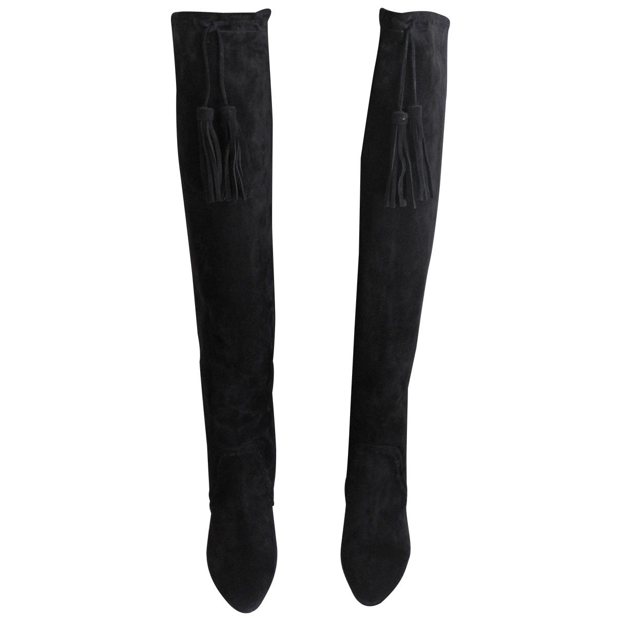 Saint Laurent Meurice Stiefel in  Schwarz Veloursleder