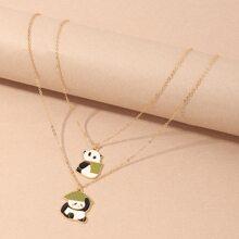 2pcs Toddler Girls Panda Charm Necklace