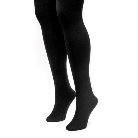 Muk Luks 2 Pair Fleece Lined Tights, Large , Black